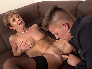 Romana is a slutty granny who looks great and likes to fuck only younger guys hd blonde
