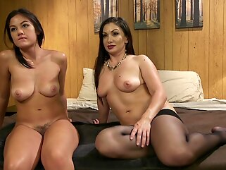 Dominante brunette enjoys a young pussy brunette bdsm