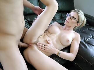 Incredible blonde woman in a black, satin robe, Cory Chase had sex with two younger guys blonde big tits