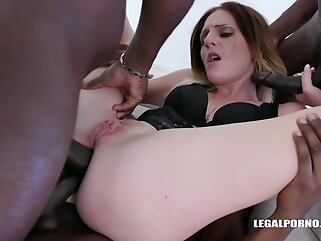 Nina Angel is sucking many black dicks and getting doublefucked because she deserves it for sure blonde anal
