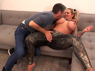 Voluptuous blonde woman, Ryan Conner and Steve Holmes are fucking on the sofa, all day long big ass anal