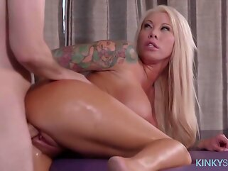 Tattooed blonde milf got fucked instead of just getting a massage, and it felt so good blonde big tits
