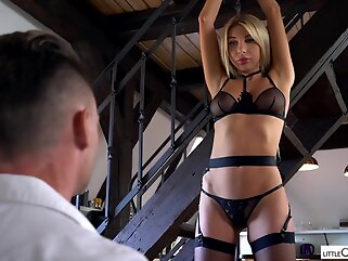 Marilyn Crystal is a hot, blonde cock teaser who likes to wear black stockings during a casual sex blonde bdsm