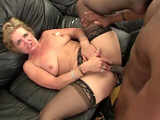 Horny, blonde housewife with glasses, Kelly Leight fucked a black guy and liked it a lot hd blonde