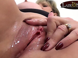 Close up masturbating with naughty mature Lady Sonia blonde big tits