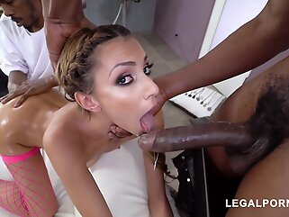Slim babe, Hime Marie is spreading up wide and getting stuffed with two, black cocks brunette anal