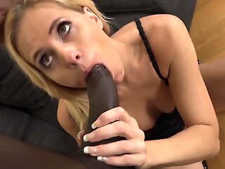 Black guy, Joachim Kessef got a blowjob from an experienced, white blonde, Klara and liked it blonde big tits