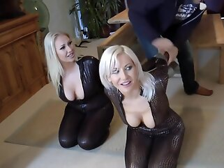 Kinky women with big tits got tied up tight and left on the floor, for a while big tits bdsm