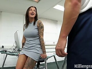 Sweet cock teaser got loads of sticky cum all over her face, after a hardcore fuck hd big tits