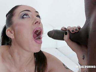 Kinky brunette, Adeline Lafouine is fisting her own ass and having group sex with black guys brunette anal